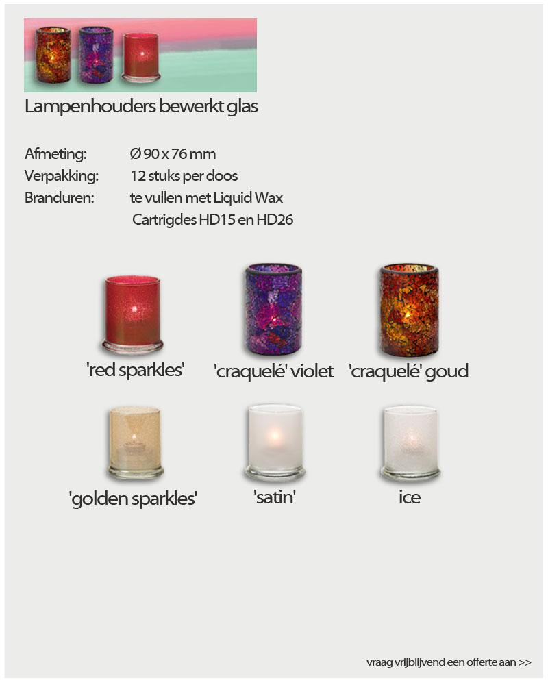 Kaarsen Lampenhouders bewerkt glas