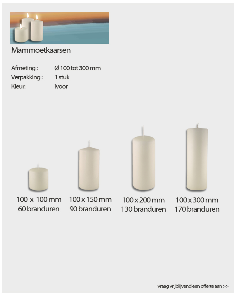 Q-Lights ® Mammoetkaarsen van NVN Kaarsen