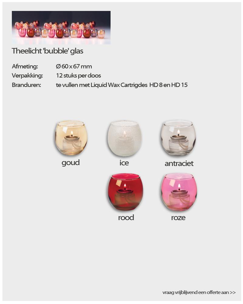 "Theelichten ""bubble' glas - Horeca Kaarsen van NVN Kaarsen"