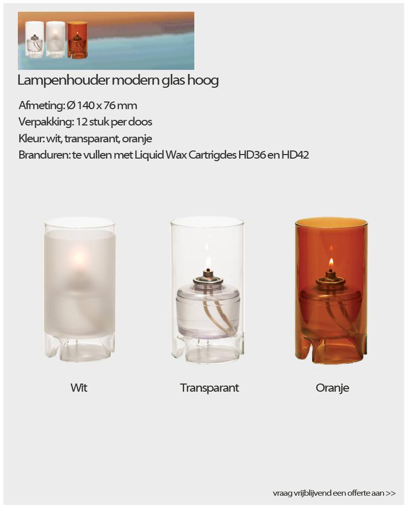 NVN Kaarsen Lampenhouder modern glas hoog