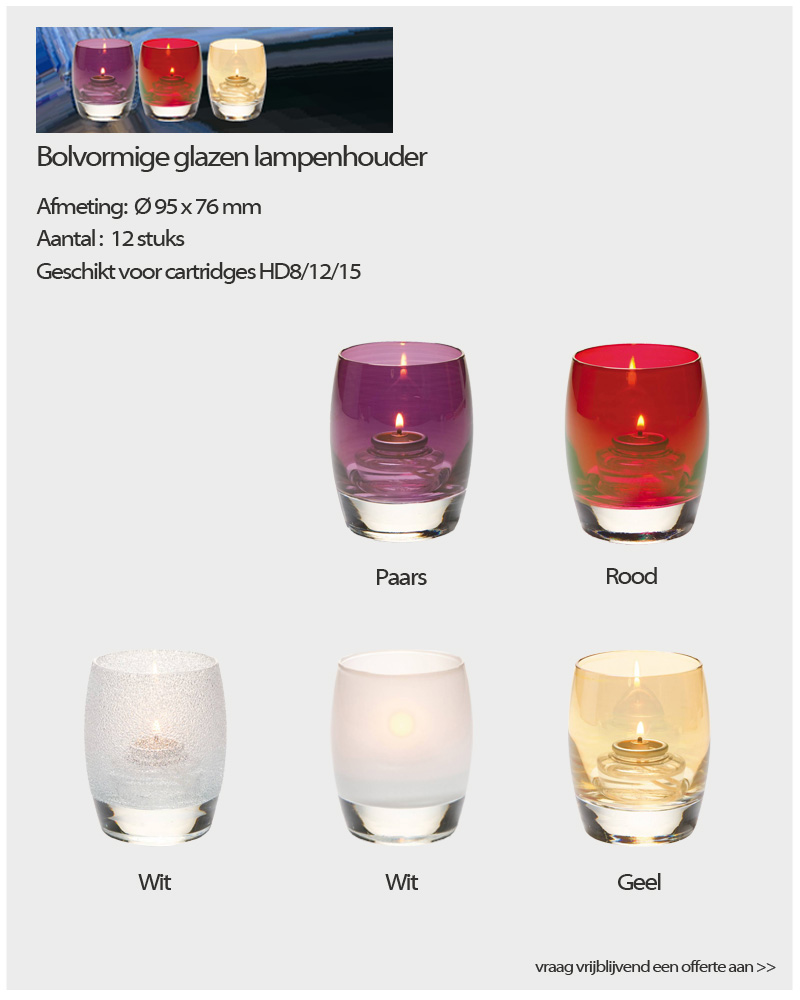 Bolvormige glazen lampen - NVN kaarsen