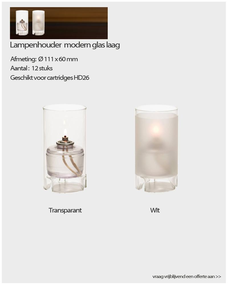 Lampenhouders modern glas Laag - NVN Kaarsen